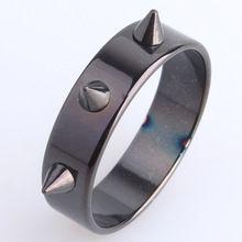 6ミリメートルゴールドカラー黒リベット316lステンレス鋼結婚指輪のため男性女性卸売(China (Mainland))