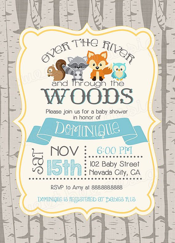 Woodland baby shower invitation, woodland fox baby, Digital, girl, boy, owl…