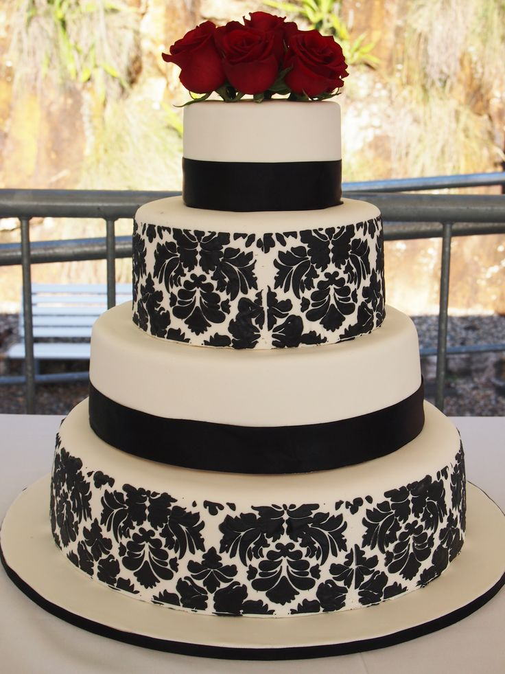 black and white damask wedding cake - Google Search