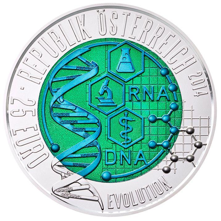 Es gibt kaum einen Gelehrten, der unser Weltbild so sehr verändert hat wie Charles Darwin mit seiner Evolutionstheorie. Ein weiterer Meilenstein: die Entschlüsselung der Desoxyribonukleinsäure – kurz DNA. James D. Watson, Francis Crick und Maurice Wilkins erhielten dafür den Nobelpreis. International ausgezeichnet wurde auch die in der Münze Österreich AG zum ersten Mal eingesetzte Prägetechnologie der zweifärbigen Silber-Niob-Münze-Serie.