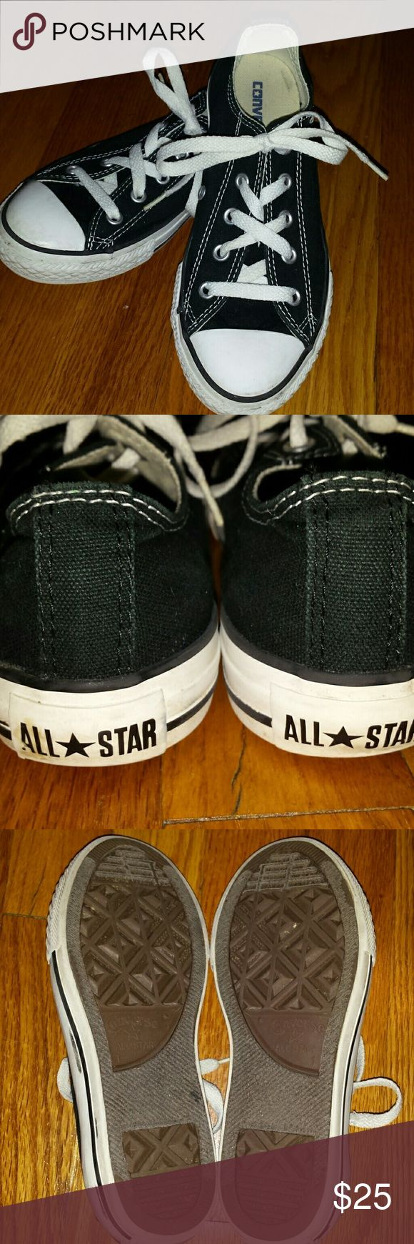 Converse low tops Black Converse low top sneakers size 1 youth. These shoes are in excellent condition. Minor smudges and discoloration to rubber outsole. Minimal wear to heel and sole. Not faded. Pretty clean. Awesome. Converse Shoes Sneakers