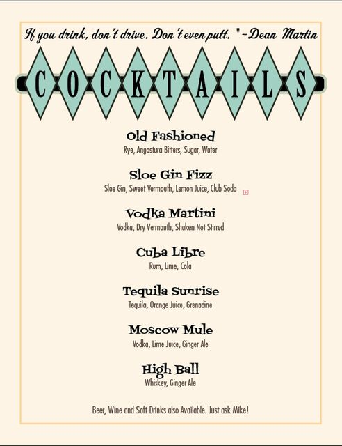 When hosting a party one should always have at least one cocktail themed to the event. Check ours out suitable for a Retro or Mad Men party.