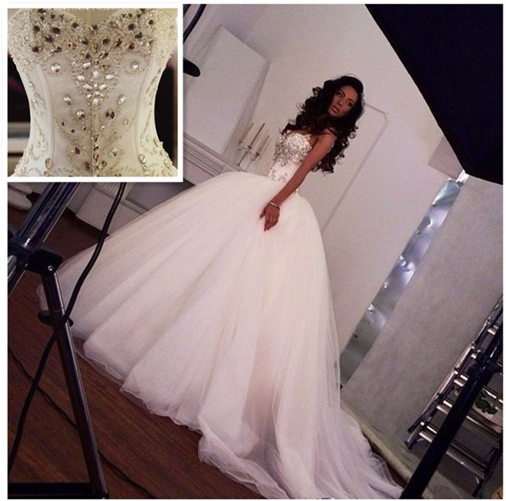 Cheap gown beaded, Buy Quality gown evening directly from China dress sticker Suppliers:     2014 Plus Size Sparkling Crystal Wedding Dress Sexy Luxury Big Train Wedding Dress 2014 Bridal Wedding Gown Ve