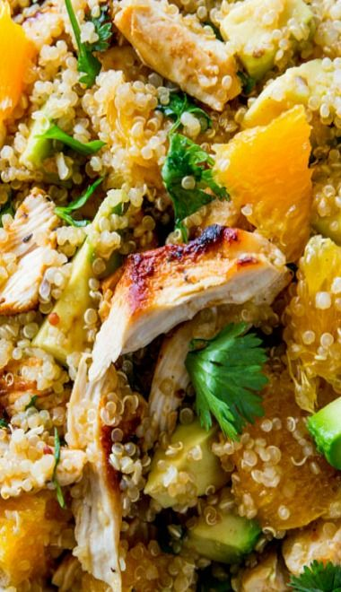 Citrus Chicken Quinoa salad. I added toasted pistachios and omitted the avocado. yumm