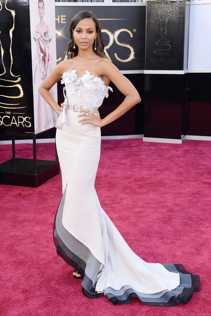 Todas las imágenes de celebrities y alfombra roja de los Oscars 2013: Zoe Saldana de Alexis Mabille