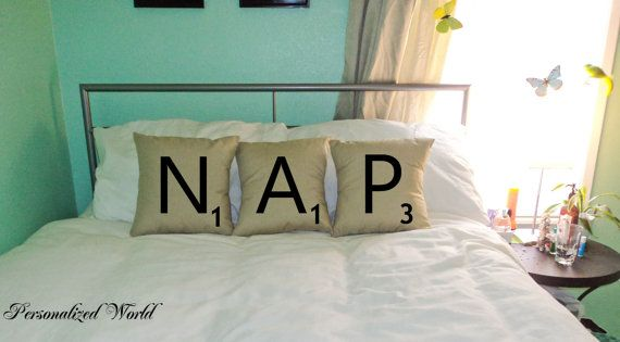 because I love scrabble letters... I want to make these but make it say S I T for the couch!!