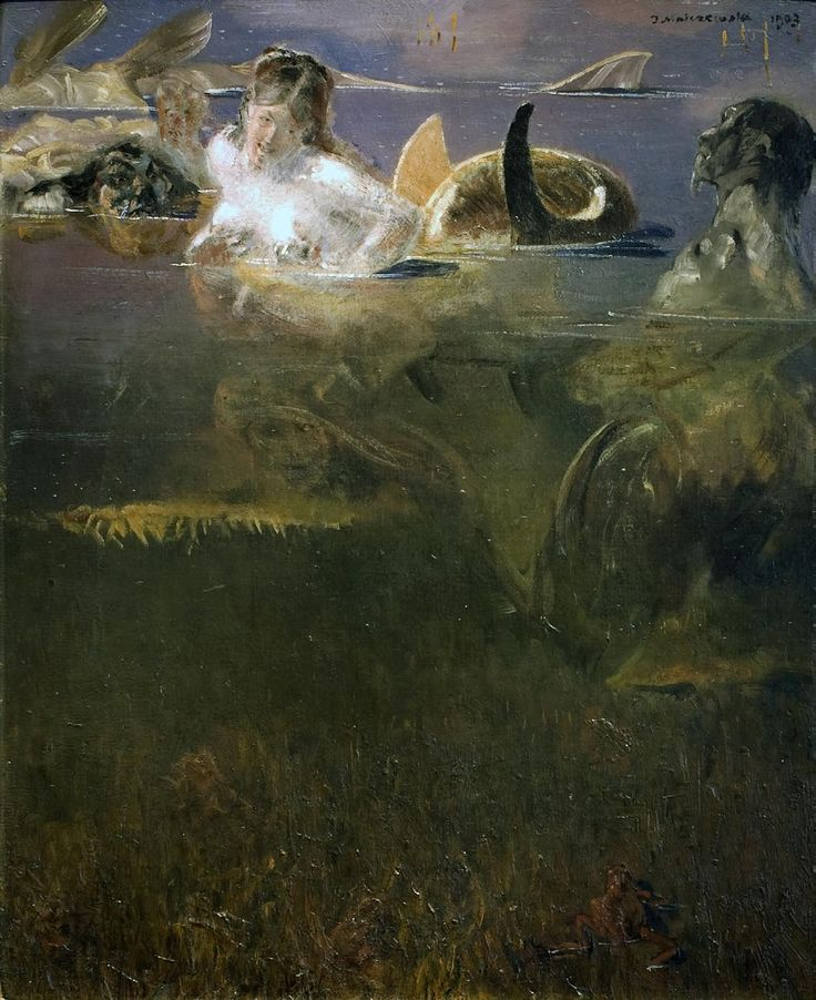 Syrena i trytony, 1903, olej, deska  -  Jacek Malczewski (1854 - 1929)