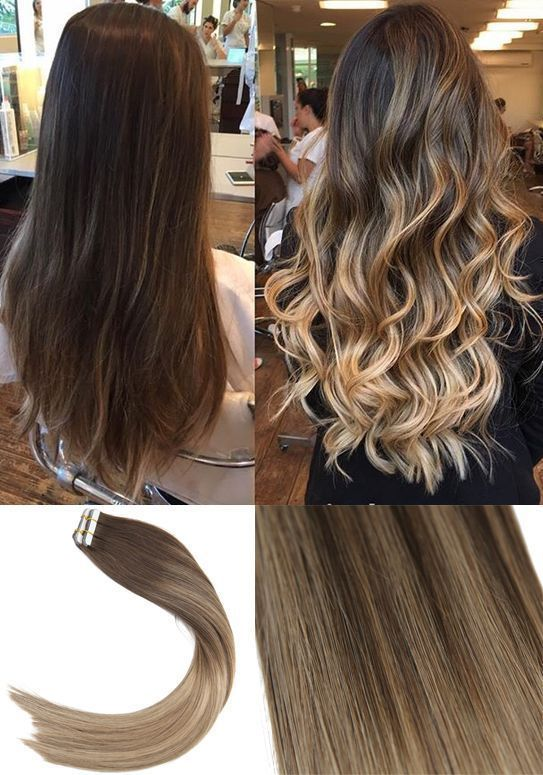 Youngsee Balayage Tape In Hair Extensions Dark Brown Ombre Golden