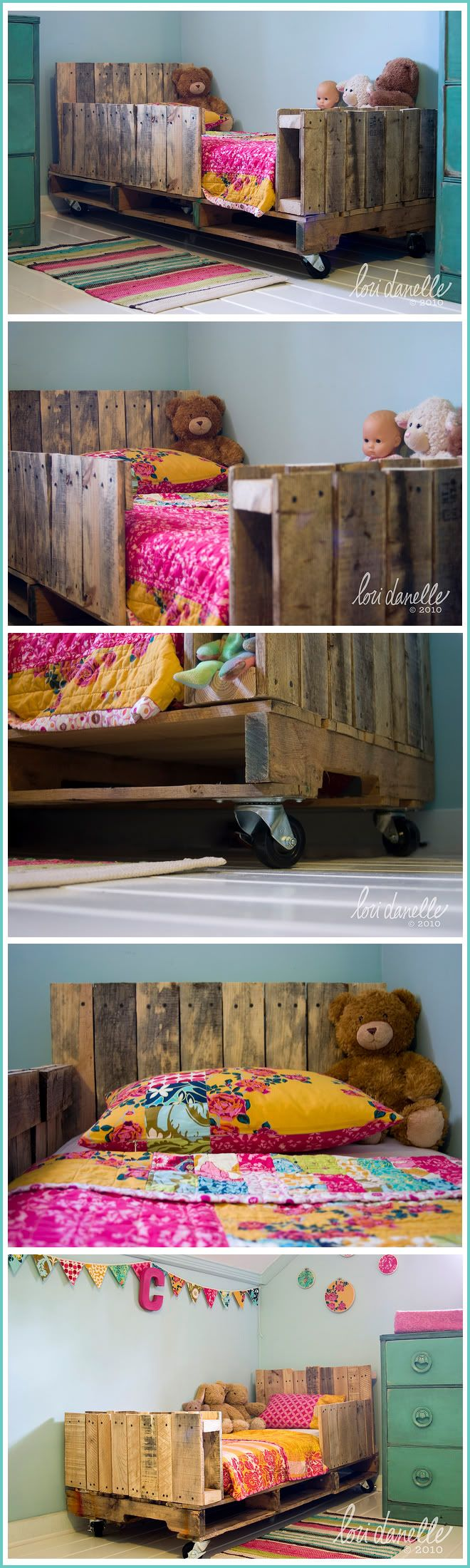 Pallet bedroom furniture plans - House 09 Blog Mom A Little Girl Bed Made Out Of Pallets Just For