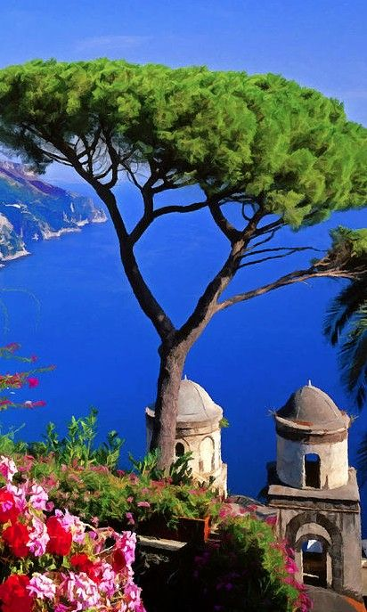 View from the town of Ravello on the Amalfi Coast of Italy.