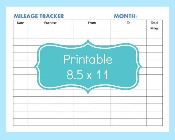 Printable Mileage Expense Form or Mileage Log Template PDF  Size: 8.5 x 11…