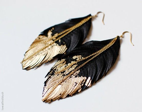 Black and gold feathers (school colours)
