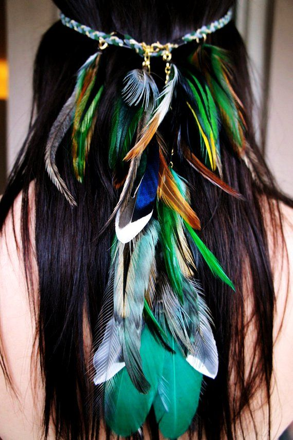 Bright Forest feather headband handmade hippie hair feathers