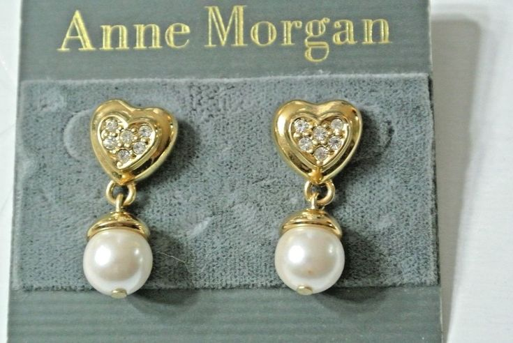 Anne Morgan Heart Shaped Rhinestone Faux Pearl Pierced Earrings Dangle Style #AnneMorgan #DropDangle