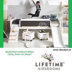 Lifetime Kidsrooms, kinderbed LIMITED EDITION *Play, Learn , Sleep* Bed met glijbaan,trap,touw,schoolbord met krijtjes www.slaapkennertheobot.nl