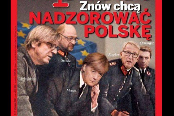 Polský týdeník zobrazil kritiky Varšavy v čele s Merkelovou jako nacisty - Fotky - Echo24.cz
