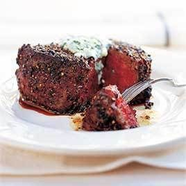 Pepper crusted filet mignon w/ blue cheese chive butter