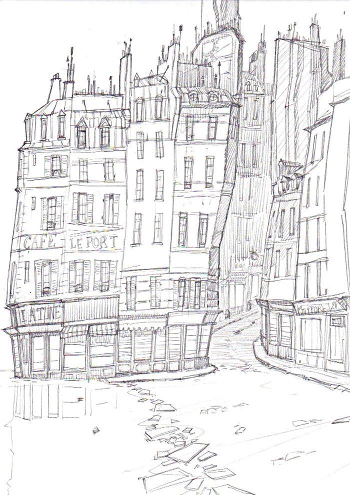 Monstre à Paris 30 DESSIN ORIGINAL IMMEUBLES DE PARIS SÉBASTIEN PIQUET