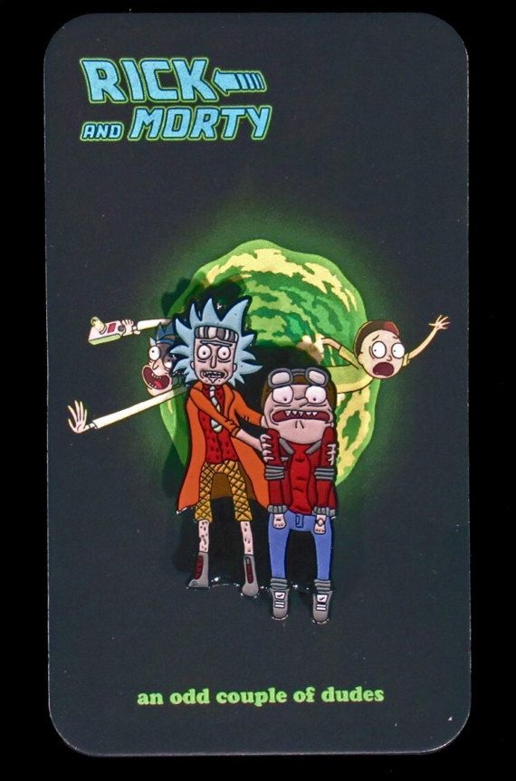 Rick and Morty/Doc and Marty Hard Enamel Pin by AnOddCoupleofDudes