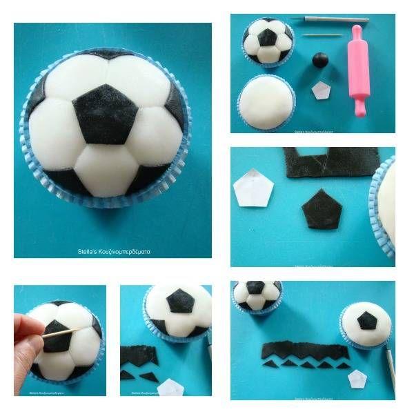 Soccer Ball Cupcake Tutorial
