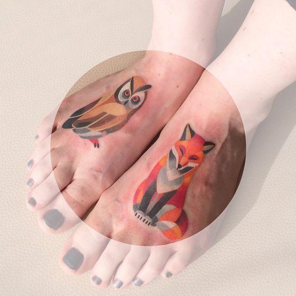 Watercolor Fox And Animal Tattoos On Thigh Fox Tattoo Fox Tattoo Design