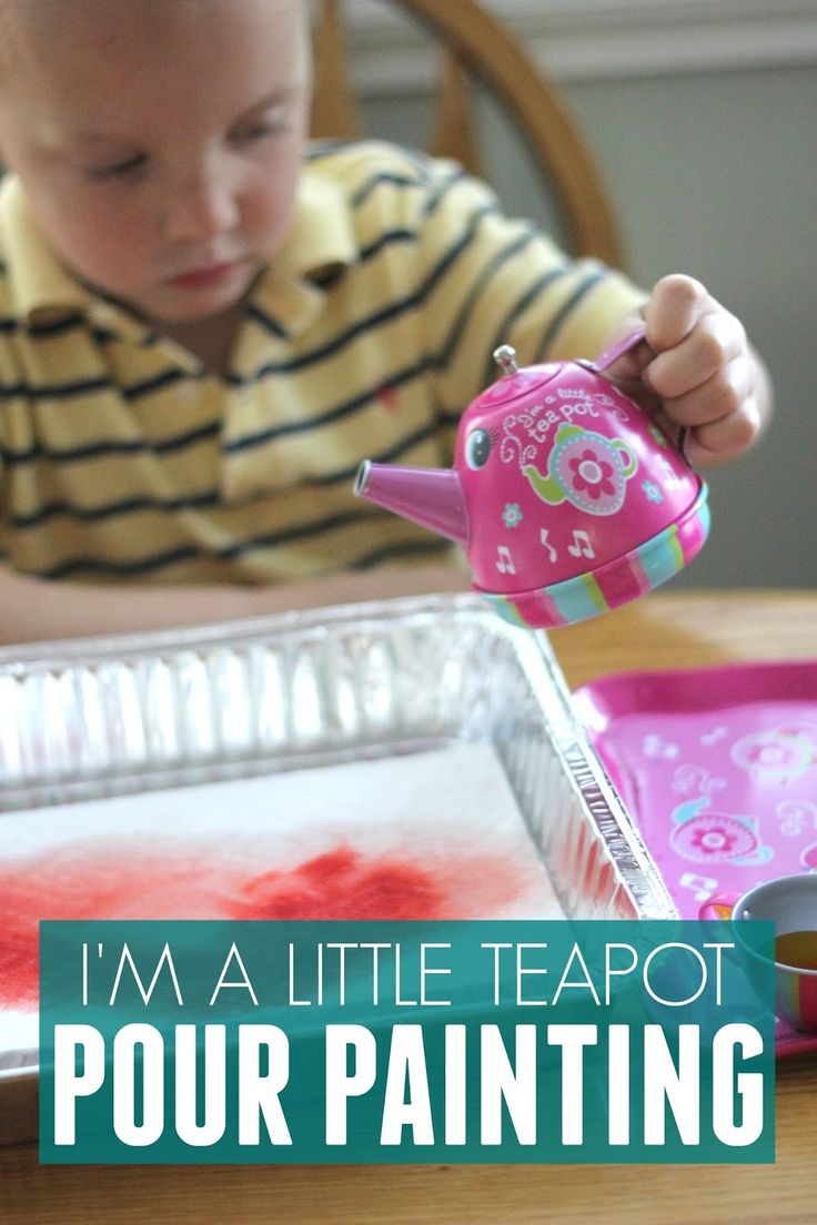 Simple nursery rhyme themed painting activity to go along with I'm a Little Teapot.