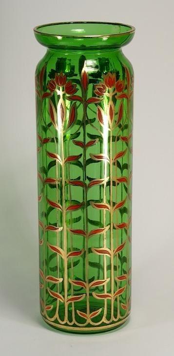 Hand-painted Bohemian glass vase circa 1900