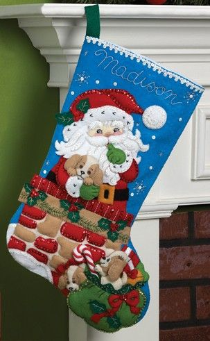 Bucilla Felt Applique Christmas Stocking Kit Santa\u0027s Secret