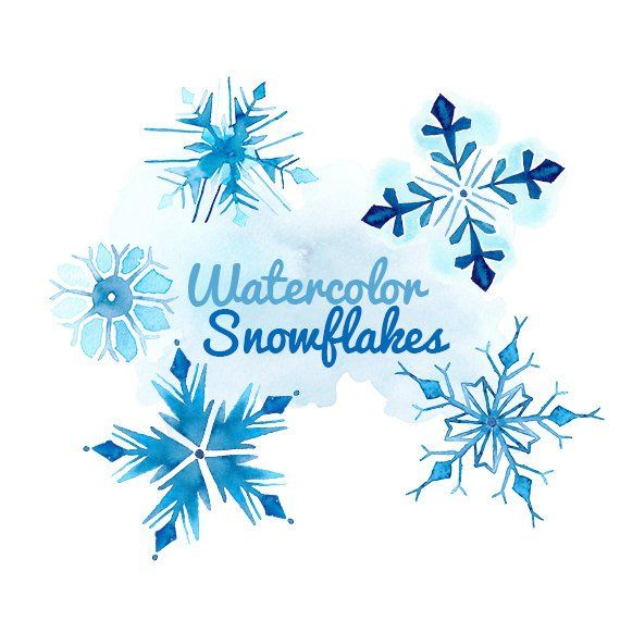 Snow blue. Watercolor snowflakes clip art