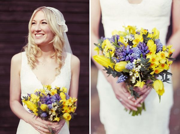 daffodil, bluebells, wedding bouquet flowers, image by Rebecca Wedding Photography
