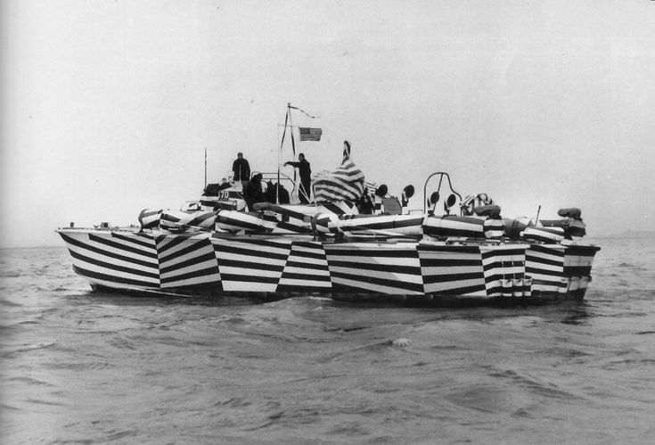 """Dazzle camouflage at its finest! On the photo PT-170, an Elco 80-footer of Motor Torpedo Boat Squadron 10 (MTBRon 10), painted in """"zebra"""" pattern designed to thwart enemy optical range finding, 1942."""