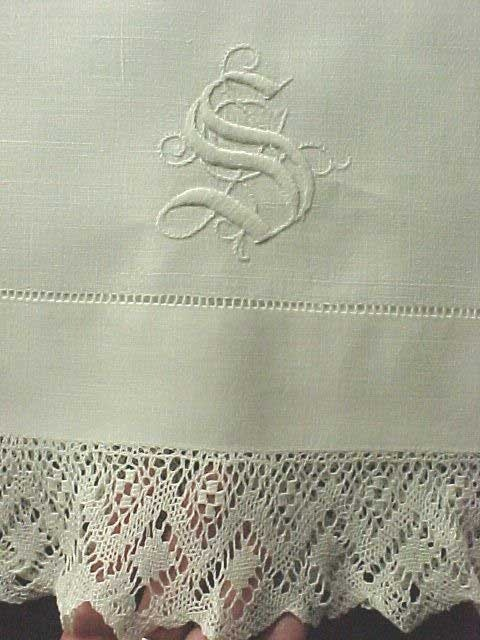 """vintage pure linen pillowcases with a """"S"""" monogram ~ love the heirloom quality!"""