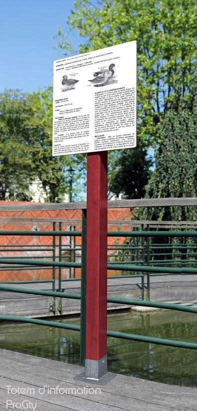 Totem d'Informations, Bois, H 1.9 m, affichage 40x40 cm, Design ProCity