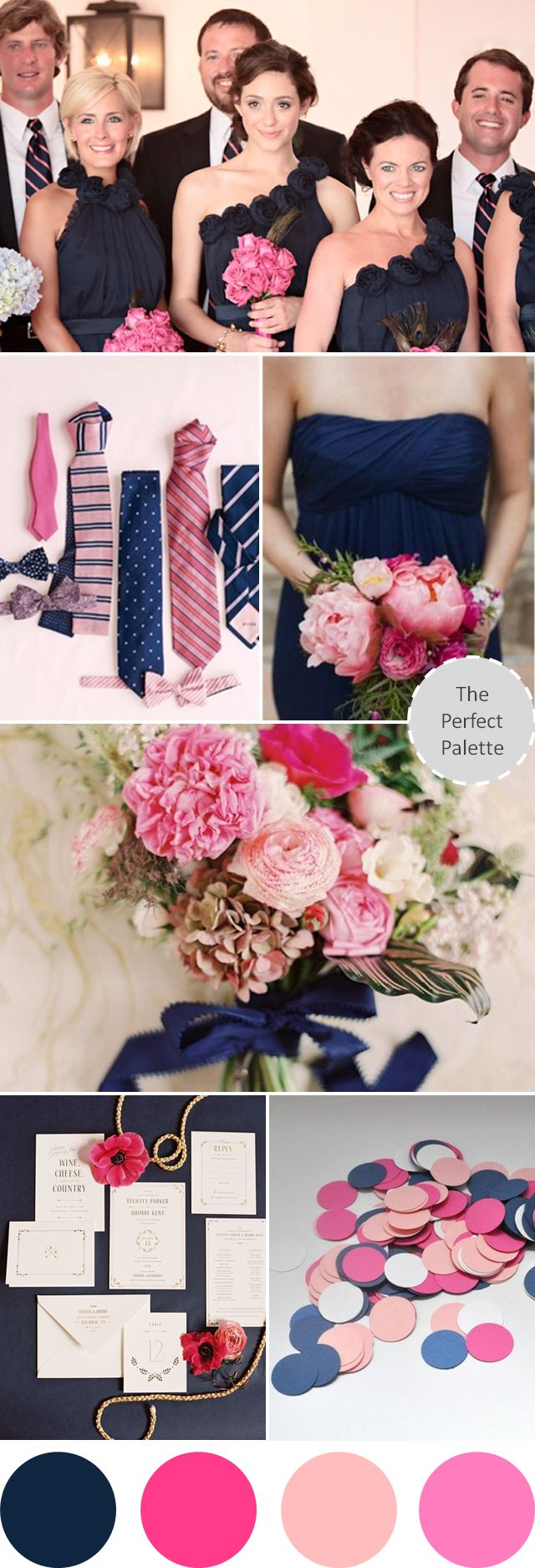 I don't much want blue but Sophak does. I would prefer to have some pink. So maybe navy blue + silver for guys, pink + silver for girls to tie it all together?  ------------- Wedding Colors I Love | Navy Blue + Shades of Pink! http://www.theperfectpalette.com/2013/08/wedding-colors-i-love-navy-blue-shades.html