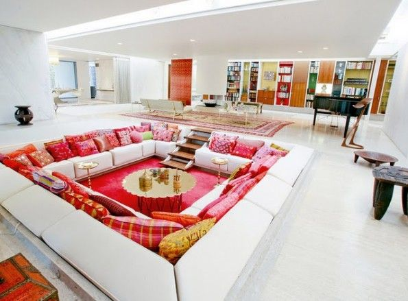Love pit (conversation pit) at Miller house: In My Dreams, Idea, Dreams Houses, Living Rooms, Couch, Miller Houses, Conver Pit, Converse Pit, Eero Saarinen