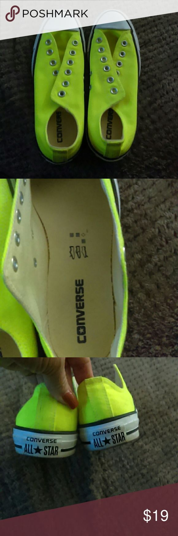 Converse neon yellow Size 8 neon yellow Converse Barely Used in great condition Converse Shoes Sneakers