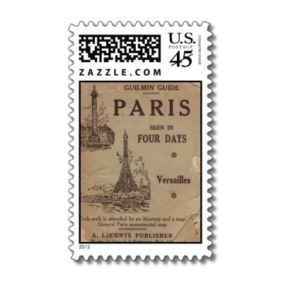 Vintage Paris Travel Brouchure Postage Stamp