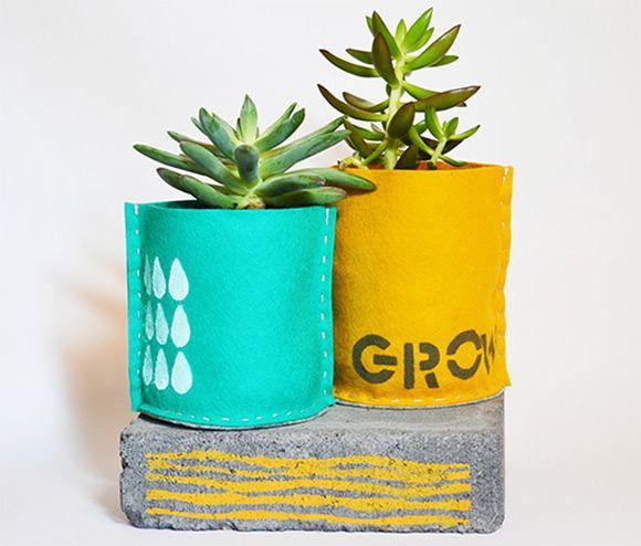 Hand-Sewn Stenciled Planters via @Juanita Martin Charlotte. Wonderful.
