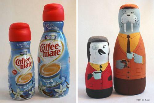Botes de café decorados con ilustraciones pintadas a mano