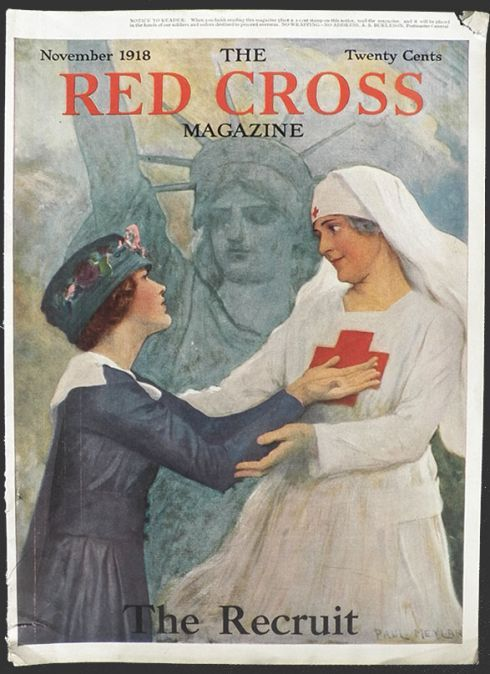 Original cover of The Red Cross Magazine dated November 1918. A WWI Red Cross nurse welcomes a young woman who has come to help. Statue of Liberty looms in the background. Illustrator: Paul Meylan.