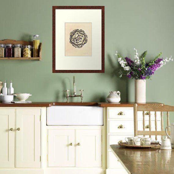 Artichoke Botanical Print Vintage Print Kitchen Wall Art 8x10 French Vintage Printable Art Articho Green Kitchen Walls Sage Green Kitchen Kitchen Wall Colors