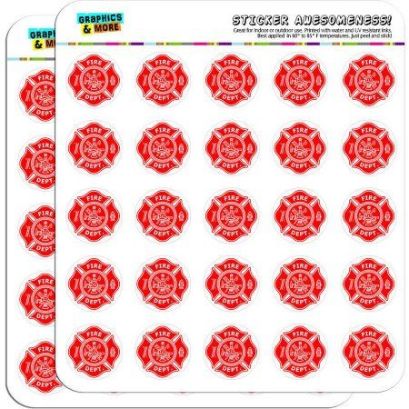 Firefighter Firemen Maltese Cross Red 50 1 inch Planner Calendar Scrapbooking Crafting Stickers, White