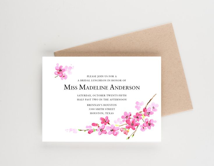 Cherry Blossom Bridal Luncheon Invitation, Bridal Shower or Luncheon Invitation,  Save The Date, Wedding Announcement, Bridal Shower by seahorsebendpress on Etsy