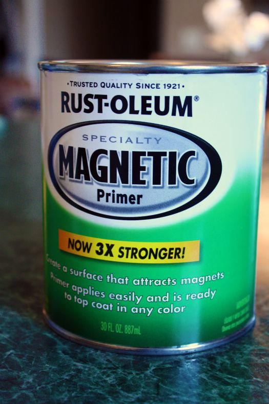 This blog inspires me! Magnetic paint inside the door of her cabinets--then she painted regular paint over it. She uses magnetic spice jars.