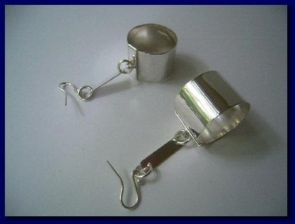 """Revelry"" sterling silver barrel earings. Handmade by Michael Edwards from Michael Edwards Jewellery"