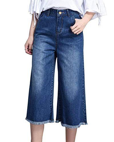 f896fc9ad Pantalones Vaqueros Cortos De Cintura Alta Anchos Pantalones Ocio Bastante  De Pierna Suelta Botón Borla con