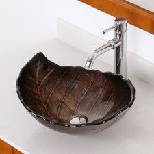 Hot Melted and Hand Painted Autumn Leaf Shaped Bowl Vessel Bathroom Sink