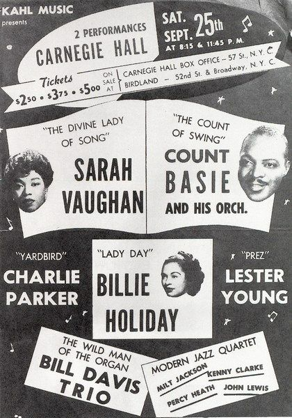 Sarah Vaughn, Count Basie, Billie Holiday, Charlie Parker, Lester Young.