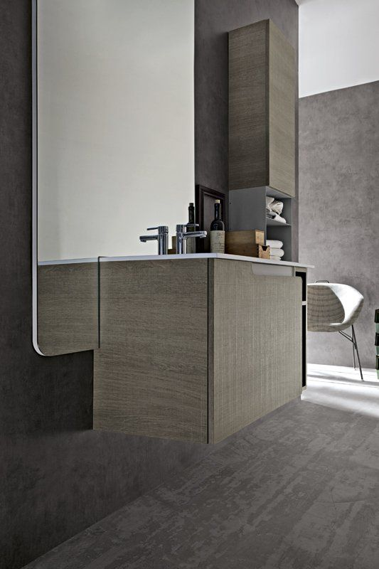 Bagno Ryo con finitura rovere corda e grigio chiaro opaco http://www.cerasa.it/it_IT/bagni/design/ryo/Cerasa_bagno_Ryo_56_57