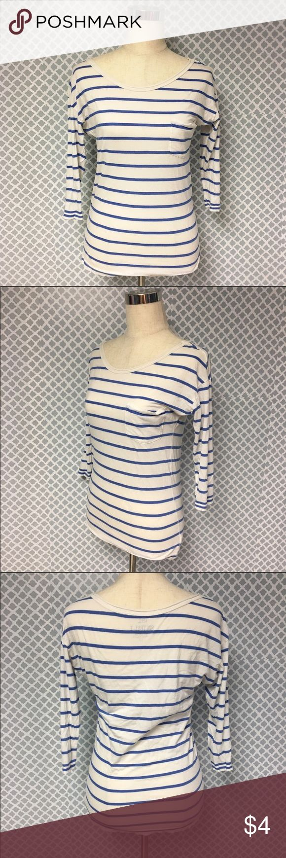 Aerie Softest-T 3/4 Inch Sleeve Top Aerie Softest-T 3/4 Inch Sleeve Top  🔘Description: American Eagle Aerie Softest-T 3/4 Inch Sleeve Blue and White Horizontal Stripe Top  🔘Condition: Very Good 🔘Material: 60% Cotton 40% Modal 🔘Measurements:      Pit to Pit - 18 Inches      Shoulder to Hem - 25 Inches           💎 Price is Firm💎 ⭐️ 15% Off All Bundles! 🛍                  💞Thanks for stopping by! 😘 Inventory: A American Eagle Outfitters Tops